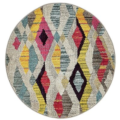 Broadway Beige/Yellow Area Rug Rug Size: Round 33