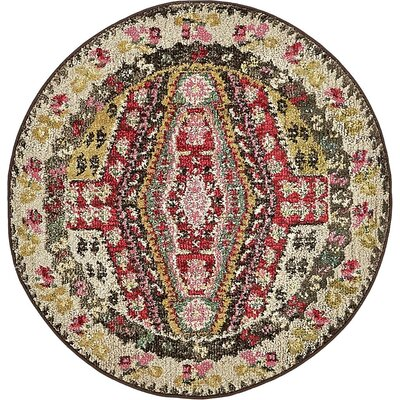 Broadway Red/Brown Area Rug Rug Size: Round 33