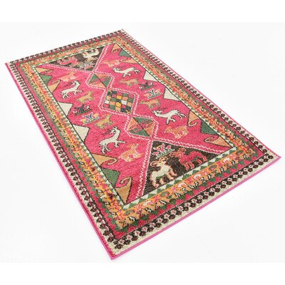 Broadway Pink Area Rug Rug Size: 33 x 53