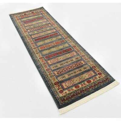 One-of-a-Kind Foret Noire Machine Woven Polypropylene Blue Area Rug Rug Size: Rectangle 2 x 6