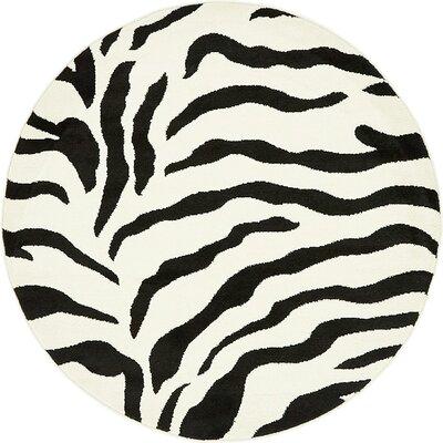 Tiel Ivory/Black Area Rug Rug Size: Round 4