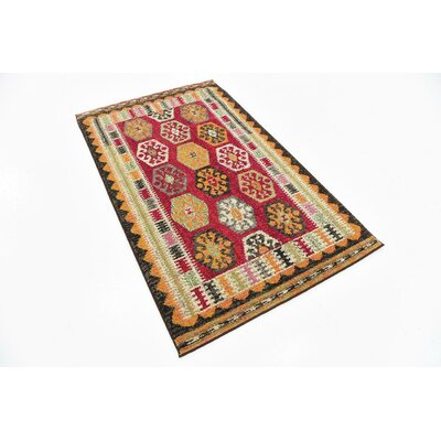 Broadway Red/Orange Area Rug Rug Size: 33 x 53