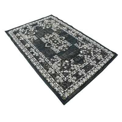Jan Black Area Rug Rug Size: 39 x 55