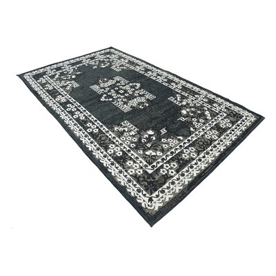 Jan Black Area Rug Rug Size: 5 x 8