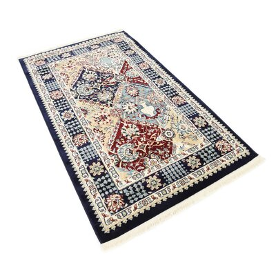 Aston Navy Blue Area Rug Rug Size: 3 x 5