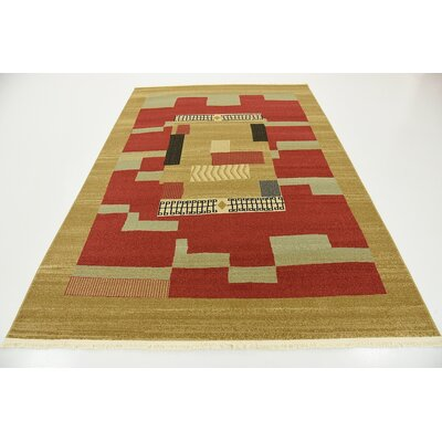 Jan Brown/Red Area Rug Rug Size: 6 x 9