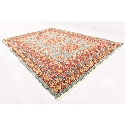 Valley Red/Light Blue Area Rug Rug Size: 9 x 12