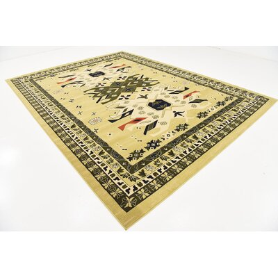 Lerma Cream/Green Area Rug Rug Size: 9 x 12