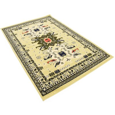 Lerma Cream/Green Area Rug Rug Size: 4 x 6