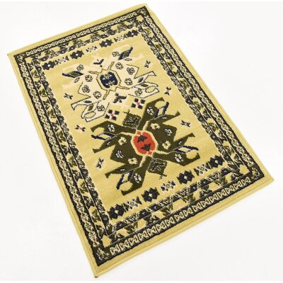 Lerma Cream/Green Area Rug Rug Size: Rectangle 22 x 3
