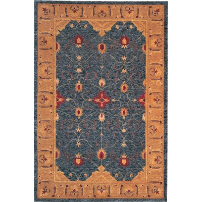 Ventnor Himalayan Sheep Blue Floral Area Rug Rug Size: 6 x 9