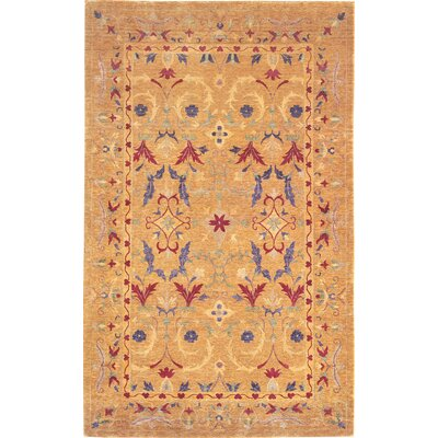 Tyson Himalayan Sheep Flowers Gold Floral Area Rug Rug Size: 8 x 10
