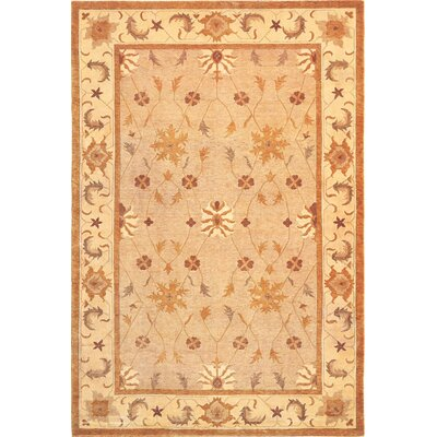Ventnor Gold Floral Himalayan Sheep Wool Area Rug Rug Size: 6 x 9