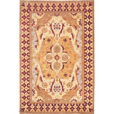 Tyson Himalayan Sheep Gold Floral Area Rug Rug Size: 6 x 9