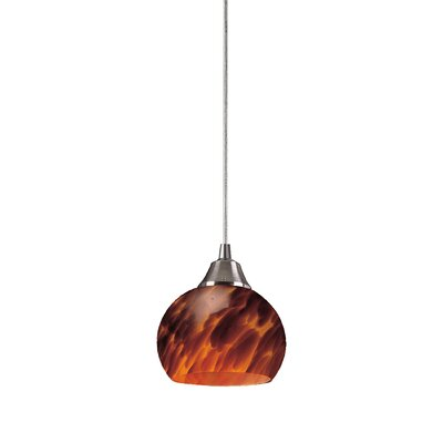 Angeletta 1-Light Metal Mini Pendant Finish: Satin Nickel and Espresso Glass, Bulb Type: LED
