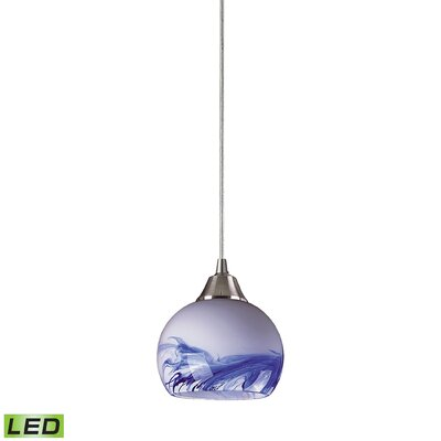 Angeletta 1-Light Metal Mini Pendant Finish: Satin Nickel and Mountain Glass, Bulb Type: LED