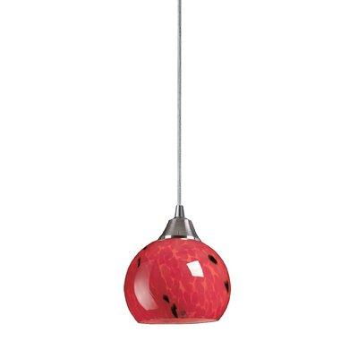 Angeletta 1-Light Metal Mini Pendant Finish: Satin Nickel and Fire Red Glass, Bulb Type: Halogen