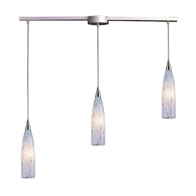 Akerhurst Lake 3-Light Linear Pendant Glass Type: Snow White