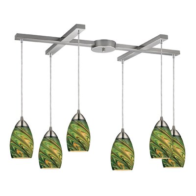 Angilia 6-Light Kitchen Island Pendant Shade Color: Evergreen