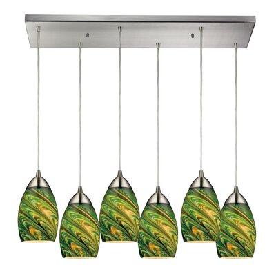 Angilia 6-Light Glass Shade Kitchen Island Pendant Shade Color: Evergreen