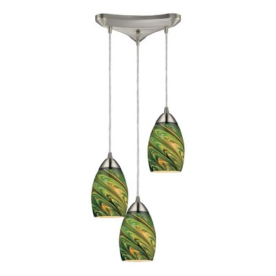 Angilia 3-Light Pendant Shade Color: Evergreen