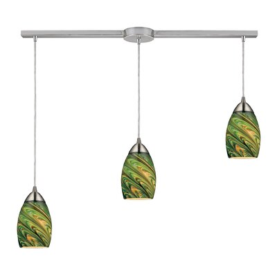 Angilia 3-Light Kitchen Island Pendant Shade Color: Evergreen