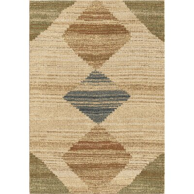 Finola Beige/Green/Brown Area Rug Rug Size: 53 x 76
