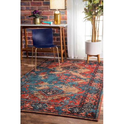 Gendt Blue/Red Area Rug Rug Size: 67 x 9