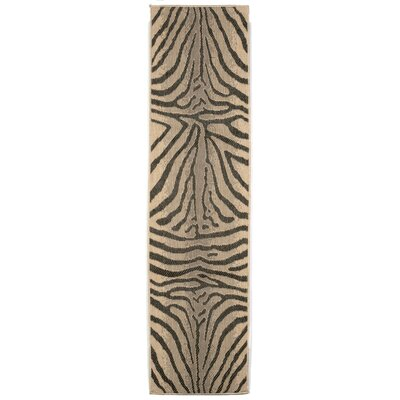 Slimane Charcoal Zebra Indoor/Outdoor Rug Rug Size: Runner 111 x 76