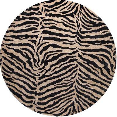 Sarana Hand-Tufted Black Area Rug Rug Size: Round 6