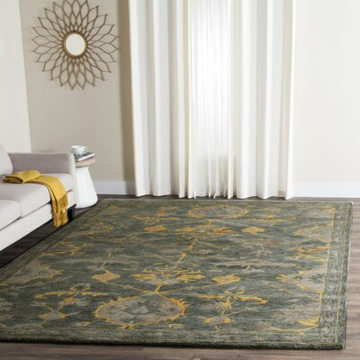 Netea Hand-Tufted Blue Grey/Gold Area Rug Rug Size: Round 5