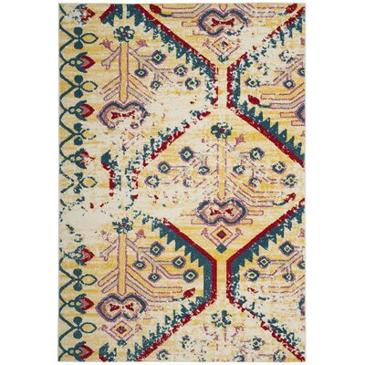 Hampstead Yellow/Blue Indoor Area Rug Rug Size: Rectangle 53 x 76