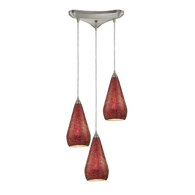 Angelette 3-Light Pendant Finish: Satin Nickel with Ruby Crackle