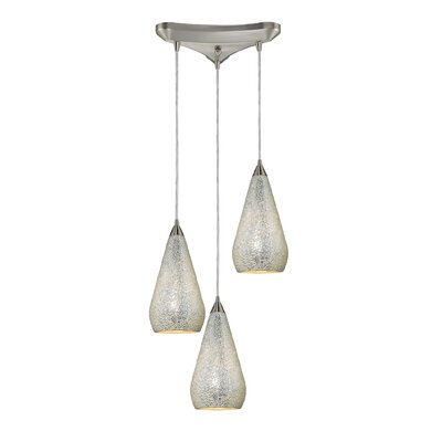 Angelette 3-Light Pendant Finish: Satin Nickel with Silver Crackle