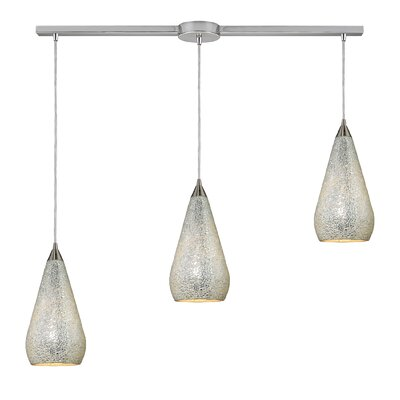 Angelette 3-Light Linear Pendant Finish: Satin Nickel with Silver Crackle