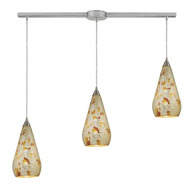 Anassi 3-Light Linear Pendant Finish: Satin Nickel with Silver Multi Crackle