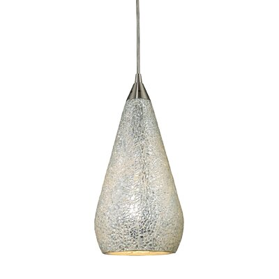 Angelette 1-Light Metal Mini Pendant Finish: Satin Nickel with Silver Crackle Glass