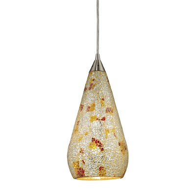 Angelette 1-Light Metal Mini Pendant Finish: Satin Nickel with Silver Multicolor Crackle Glass