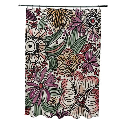 Natahsa Zentangle Floral Print Shower Curtain Color: Purple