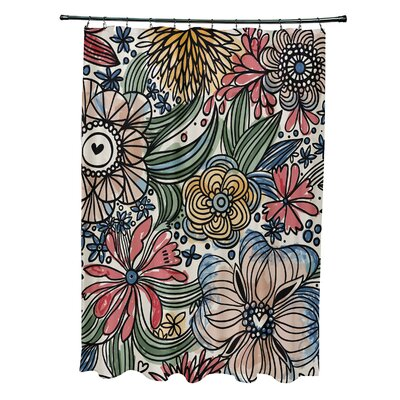 Natahsa Zentangle Floral Print Shower Curtain Color: Red