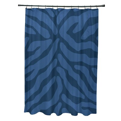 Echo Animal Print Shower Curtain Color: Navy Blue
