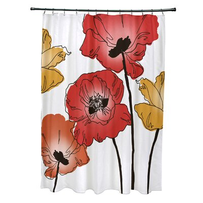 Echo Poppies Floral Print Shower Curtain Color: Red / Orange
