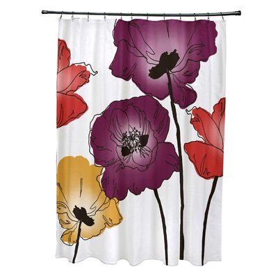 Poppies Floral Print Shower Curtain Color: Purple