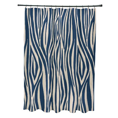 Kam Wood Print Shower Curtain Color: Navy Blue