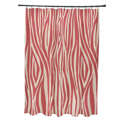 Echo Wood Print Shower Curtain Color: Coral
