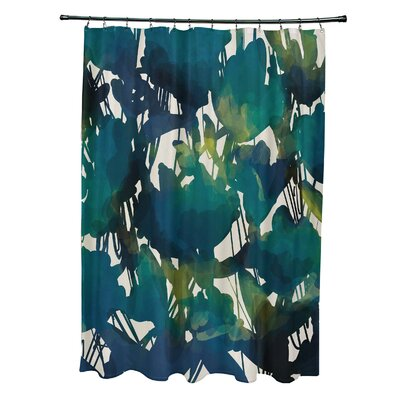 Echo Abstract Floral Print Shower Curtain Color: Teal