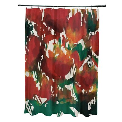 Kam Abstract Floral Print Shower Curtain Color: Red