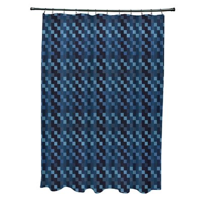 Liam Mad for Plaid Print Shower Curtain Color: Blue