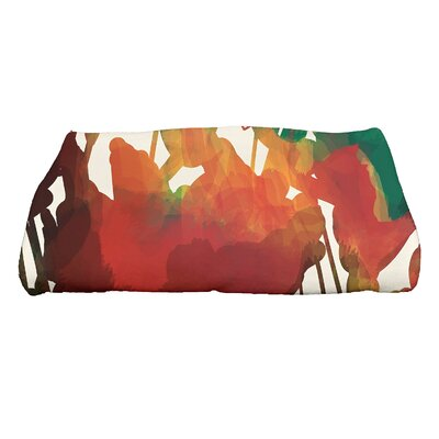 Kam Abstract Floral Print Bath Towel Color: Red