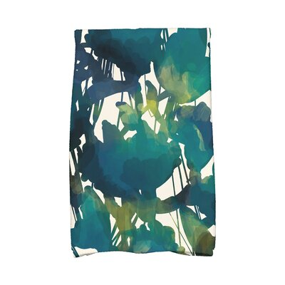 Kam Abstract Floral Print Hand Towel Color: Teal